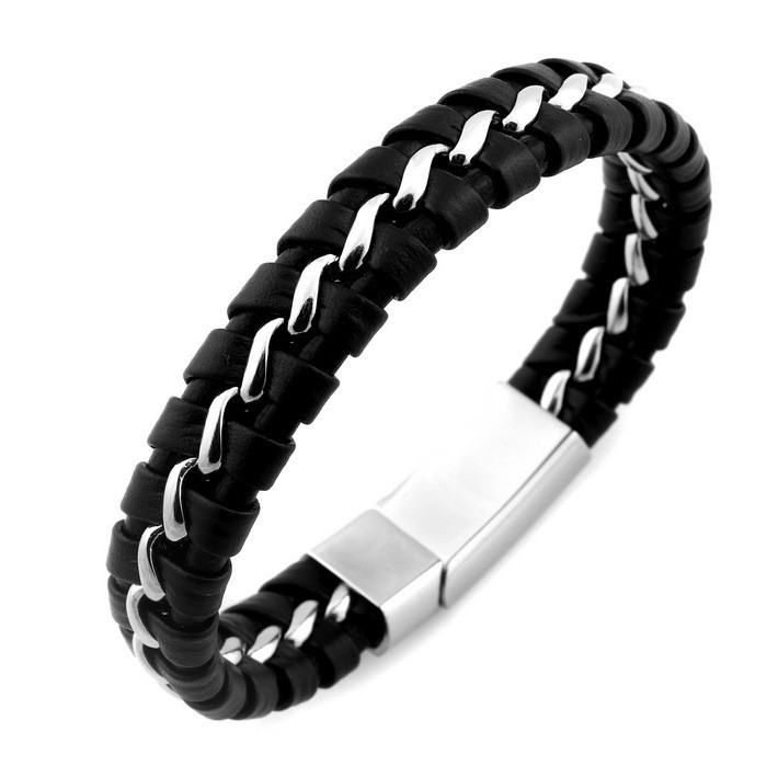 black-leather-knitted-bracelet-with-silver-magnetic-clasp-2