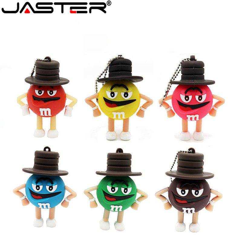External Storage Jaster Hot Fashion Creative Wearing A Hat M Bean Series Real Capacity Usb Flash Drive 2.0 4gb/8gb/16gb/32gb/64gb Memory Stick To Win A High Admiration And Is Widely Trusted At Home And Abroad.
