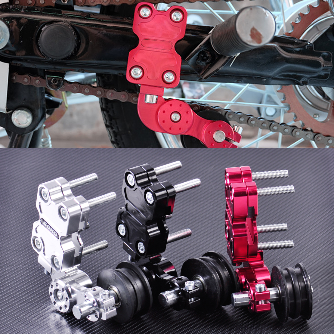 CITALL Adjustable Aluminum Chain Tensioner Bolt on Roller Motocross for Motorcycle Dirt Street Bike ATVs Banshee Chopper motorcycle adjustable aluminum chain tensioner adjuster bolt on roller motocross dirt street bike atv for honda kawasaki yamaha