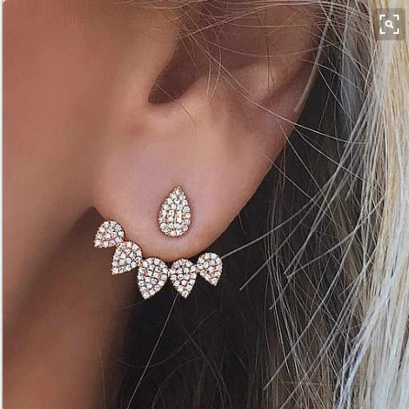 Crystal Earrings Fashion Jewelry Bohemian Elegant Earrings Double-sided Earrings Women Accessories Personalized Droplets Earring