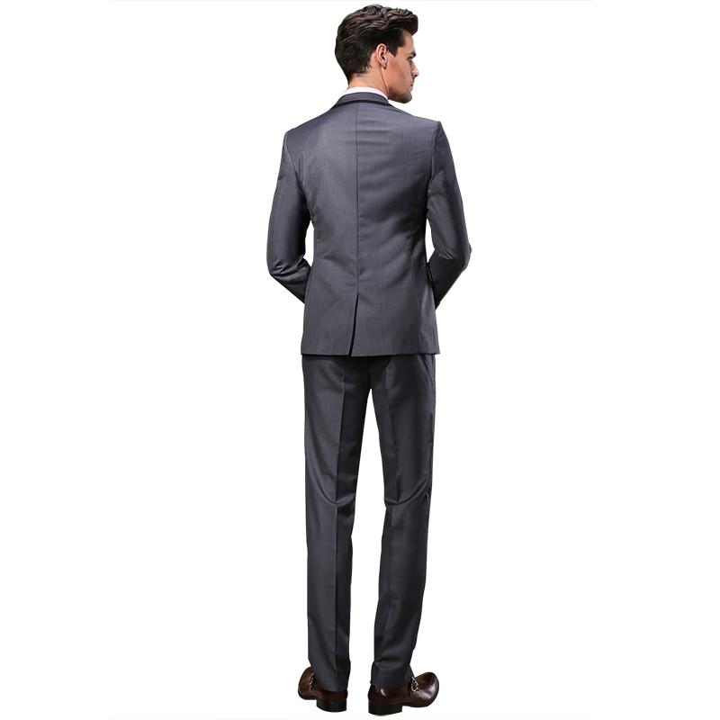 2019 DARO Mannen Past Slim Custom Fit Tuxedo Grijs pak en Broek Merk - Herenkleding - Foto 6