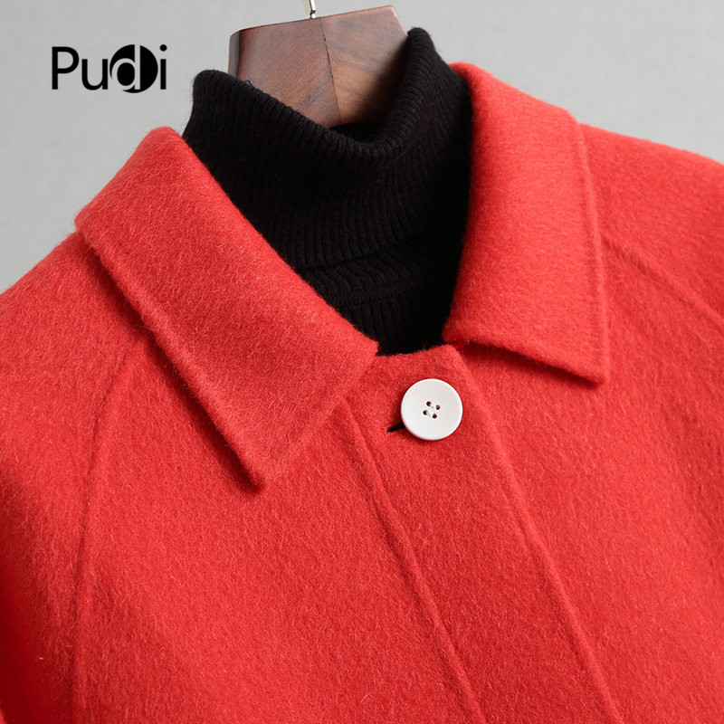 PUDI A38410-1 2019 Women new fashion red color double wool jacket lady style leisure Fall/Winter wool coat