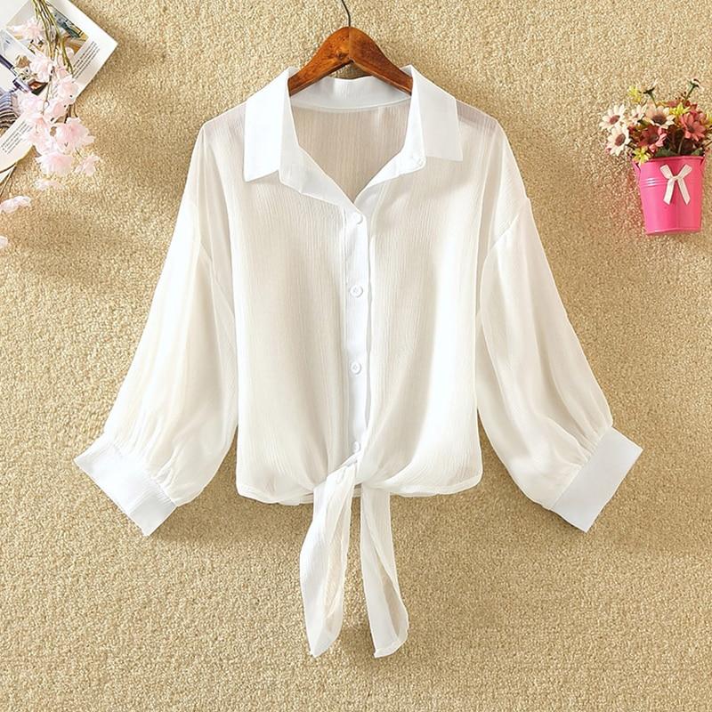 White Chiffon Blouse Women Half Sleeve 2020 Summer Transparent Thin Shirts Office Blusas Feminina Solid Workwear Plus Size Tops