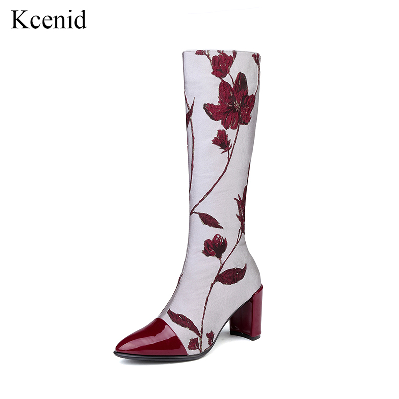Kcenid 2018 Newest embroider boots fashion pointed toe zipper long boots high heels retro flowers shoes woman winter boots womenKcenid 2018 Newest embroider boots fashion pointed toe zipper long boots high heels retro flowers shoes woman winter boots women