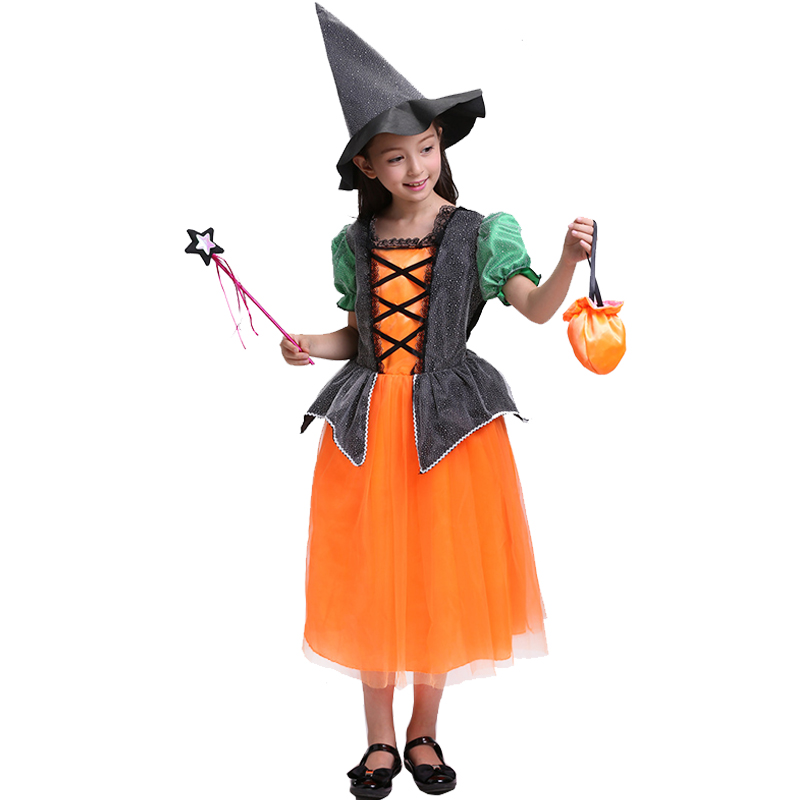 c485a66dd6d9b Halloween Costumes Witch Dress For Girl With Hat Cap Party Cosplay Dress  Clothing Kids Girl Cartoon Performance Dress Christmas-in Dresses from  Mother ...