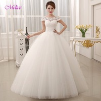 Fmogl New Fashion O neck Lace Up Ball Gown Vintage Wedding Dresses 2018 Beaded Appliques Cap Sleeve Wedding Gown Robe De Mariage