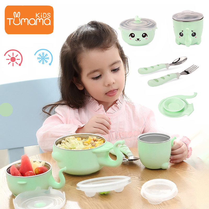 Tumama Dinnerware Set 316L Stainless Steel Children Cartoon Tableware Set For Baby Temperature Control Food Storage Feeding Tool Dishes     - title=