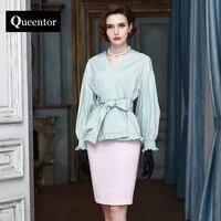 QUEENTOR 2017 merk mintgroen hoge-end plus size fashion elegant pure katoen OL riem taille blouse vrouwen