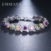 EMMAYA Valentine S Gift Shiny Multicolored CZ Zircon Crystal Heart Shaped Woman Girl Bracelet Jewelry