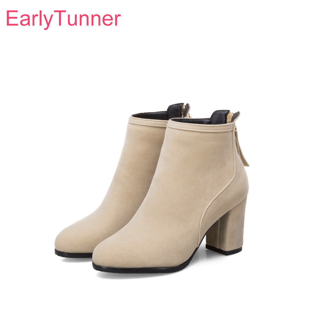 Brand New Fashion Black Beige Women Ankle Dress Boots Sweet Lady Nude Shoes High Heels -4390
