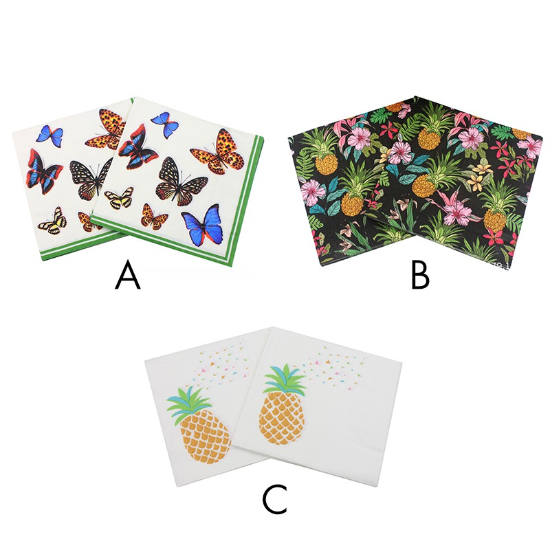 Beauty Butterfly Printed Tissue Feature Decoration Paper Napkins For Event & Party 33cm * 33cm 20pcs / pack / lot Table Napkin