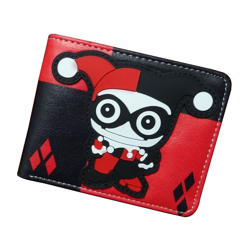 Cute Cartoon Anime Purse Animation Harley Quinn Wallets PU Leather Money Holder with Zipper Coin Pocket Gift Kids Short Wallet new anime style spiderman men wallet pu leather card holder purse dollar price boys girls short wallets with zipper coin pocket