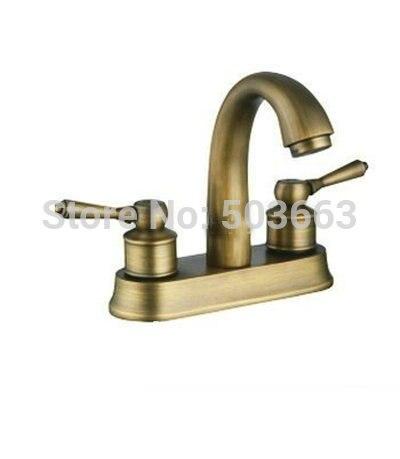European Style Antique Brass Two Handle Centerset Bathroom Vessel Sink Faucet Vanity Faucets L-2600