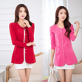 cardigan women spring and autumn Long-sleeved round neck thin sweater 33996 Plus size m-4XL