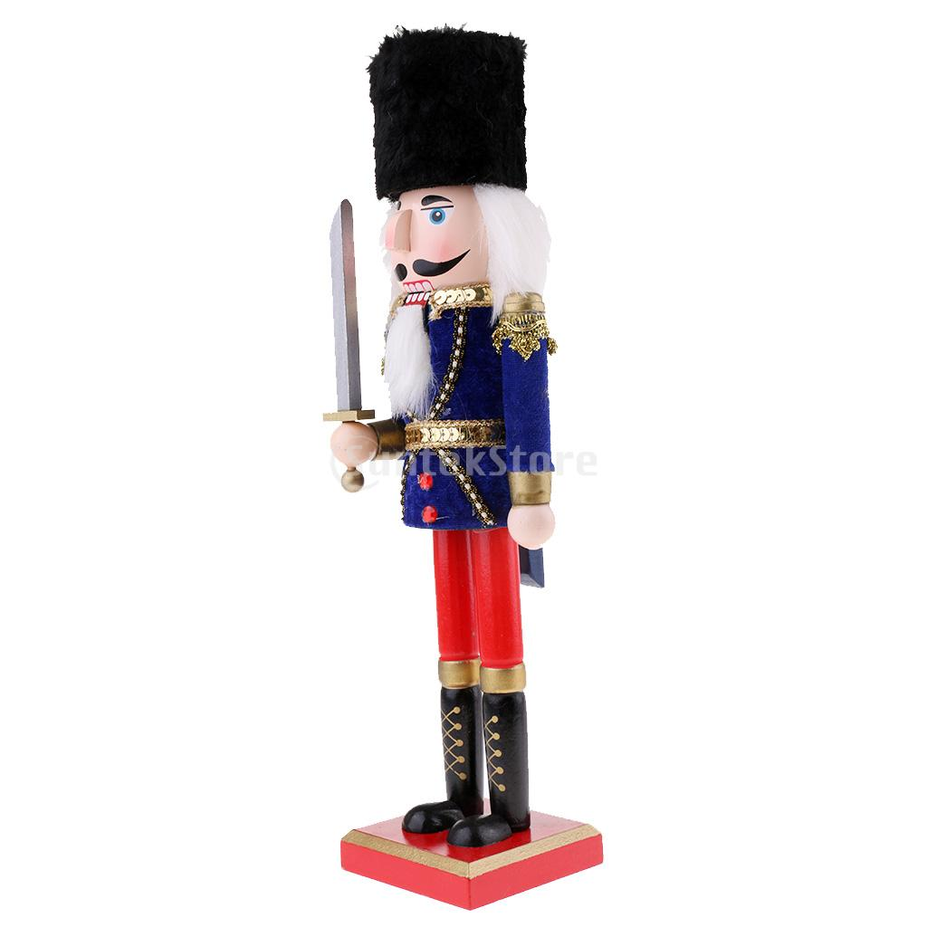 38cm Vintage Wooden Nutcrackers Soldier with Sword Figurine Statue ...