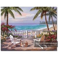 New Arrived Artist Hand-painted High Quality Summer Landscape Oil Painting on Canvas Handmade Beach and Chair Oil Painting