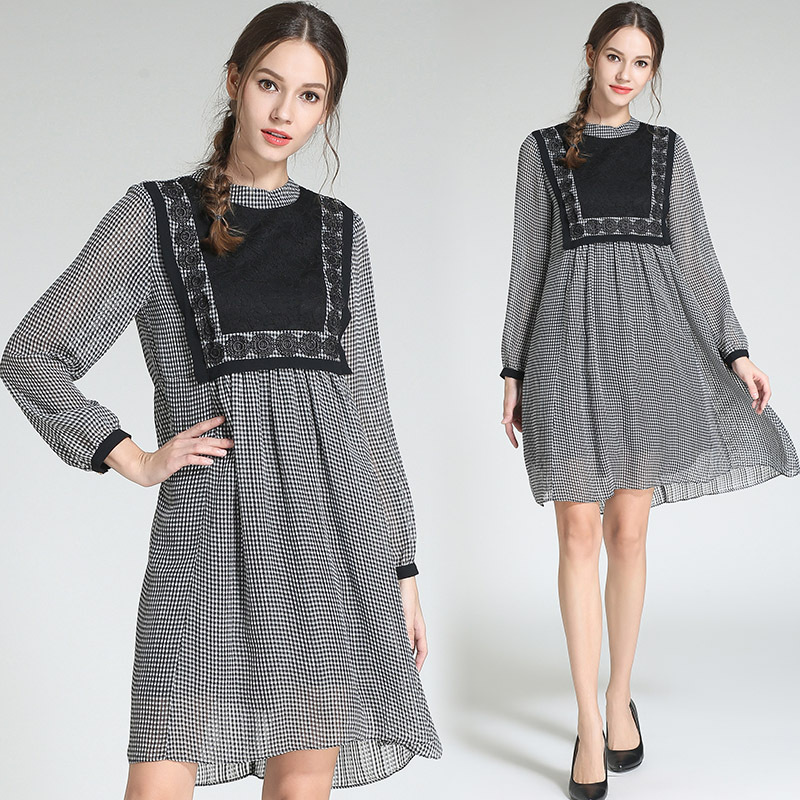 New 2018 Autumn Women loose cute plaid dress lace patchwork long sleeves elegant Dress casual vestidos