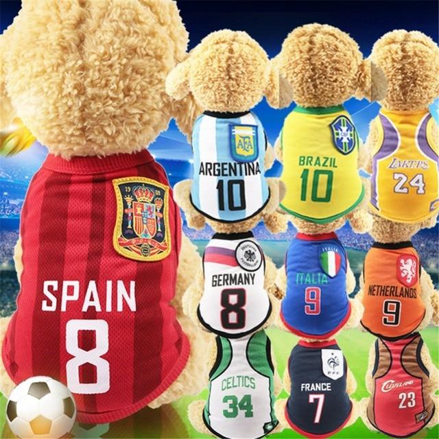 Mascota perros suaves deportes perro chaleco gato camiseta ropa para mascotas sudadera fútbol Jersey Primavera Verano camisa para pequeño mediano grande los perros