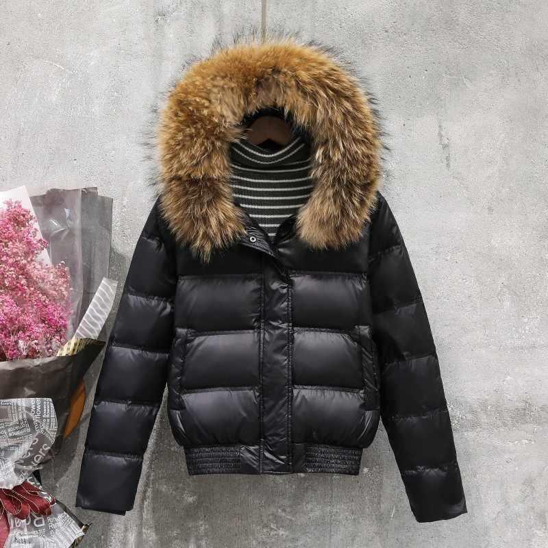 Ailegog Новая зимняя Женская куртка из натурального меха енота с капюшоном и белым утиным пухом короткие пальто Женская Тонкая Повседневная пуховая верхняя одежда