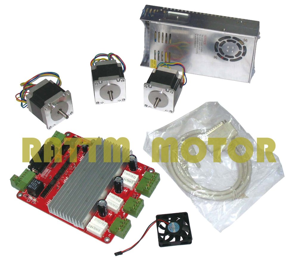 3 axis CNC kit 3 NEMA23 165 oz-in stepper motor + 3 axis CNC Driver board