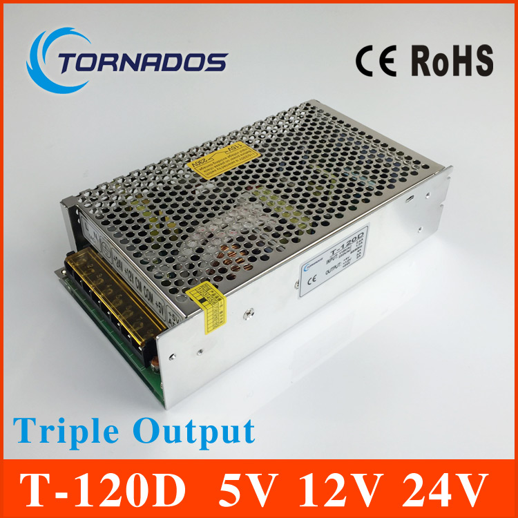 Triple output power supply 120w 5V 12V 24V 8A 2.5A 2A power suply T-120D  high quality ac dc converter t 120a triple output power supply 120w 5v 15v 15v power suply ac dc converter power supply switching