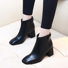 Boots Women 2019 Autumn Ankle Boots For Girl Square Heel Zipper Casual Female Shoes Microfiber Leather Boots Shoes CH-A0123 цена 2017
