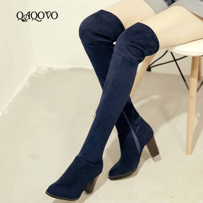 Over the Knee Boots Women Floock Sqaure High Heel Stretch Boots Zipper Autumn Winter Boots Ladies Shoes Blue Wine Red Black