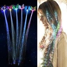 7 шт. светодиодный Блестящий головной убор для волос, светящийся волоконный зажим для волос, светящаяся бабочка, головной убор, светящийся светодиодный вечерние светодиодный Рождественский подарок