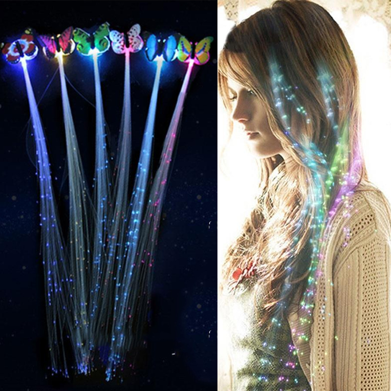 7PCS LED Shining Glow Hair Braid Flash Fiber Hairpin Clip Luminous Butterfly Headband Luminescent LED Party LED Christmas Gift