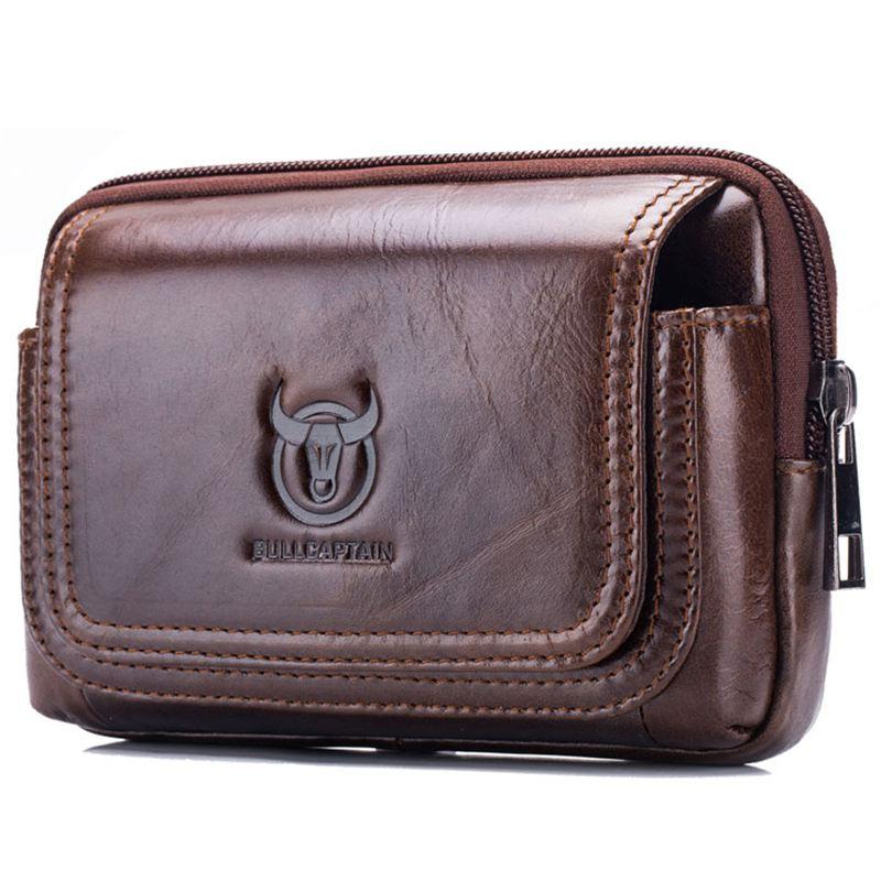 BULLCAPTAIN Male Purse Leisure Sling Bag Small Pocket New Men Waist Bag Leather Sling Cigarette Bag Mobile Phone Bag