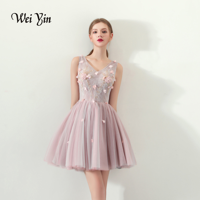 WEIYIN Short Prom Dress V Neck Flowers Beaded Formal Dress Women Occasion Party  Dresses Sexy Evening prom Gowns 2215ebee0fad