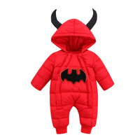 Winter Children Thick Clothes Infants Climb Padded Jacket Baby Crawling Hooded Cotton Kid Jumpsuits Halloween Baby