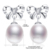 Daimi perla cultivada pendientes, 100% A Estrenar Genuino Joyería de La Perla 9 MM Bowknot Pendientes de Perlas Naturales Pendientes de Plata