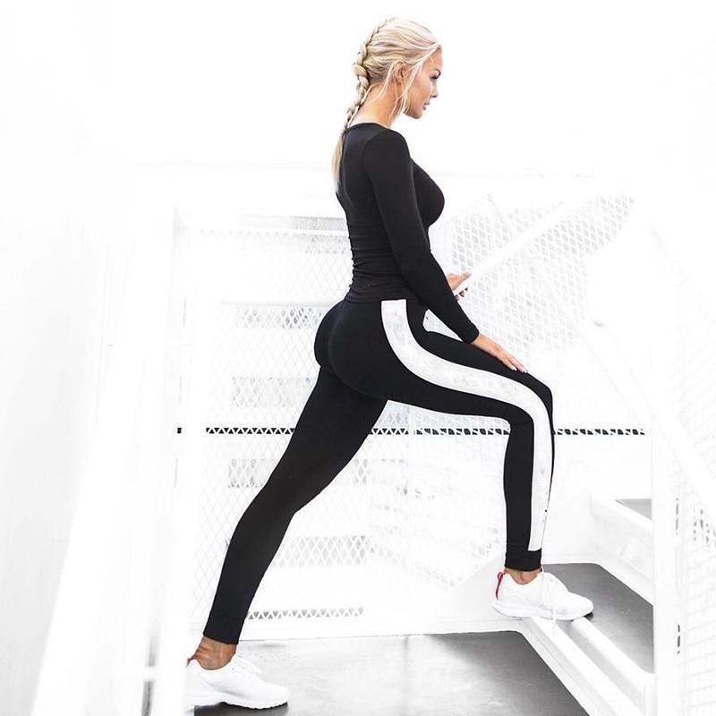 Yoga Pants Black White Long