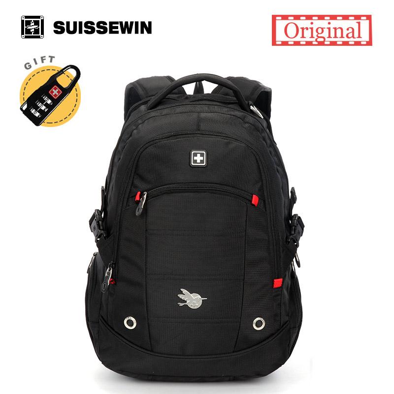 Prix pour Suissewin de mode hommes casual daily sac à dos 15.6 pouce étanche pour ordinateur portable sac à dos sn9069 étudiant nylon ordinateur sac à dos