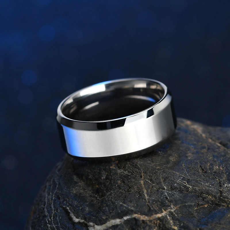 ELSEMODE ผู้ชายสีดำไทเทเนียมสแตนเลสแหวนโรงงานโดยตรง Lover คู่แหวนผู้หญิง