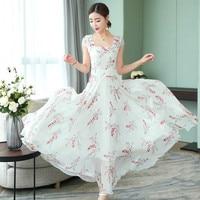 2019 New Spring Summer Elegant Fashion Chiffon Women Long Dress White Broken Floral Short Sleeved Small Fresh Lady Dresses