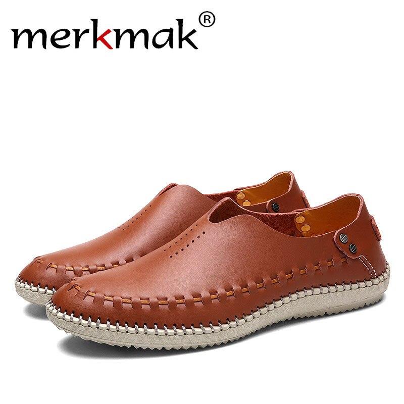 Merkmak Men Flats Summer Holes Loafer Shoes Lesisure Handmade Breathable Design Shoes for Man Business Driving Footwear Dropship