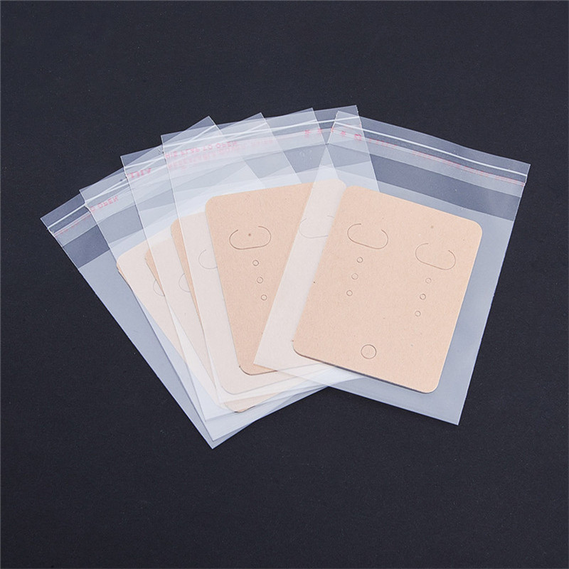 20pcs/lot Earrings Packing Bag (opp+paper) Jewelry Packaging Card Pouches Ear Jewelry Display Bags Packaging