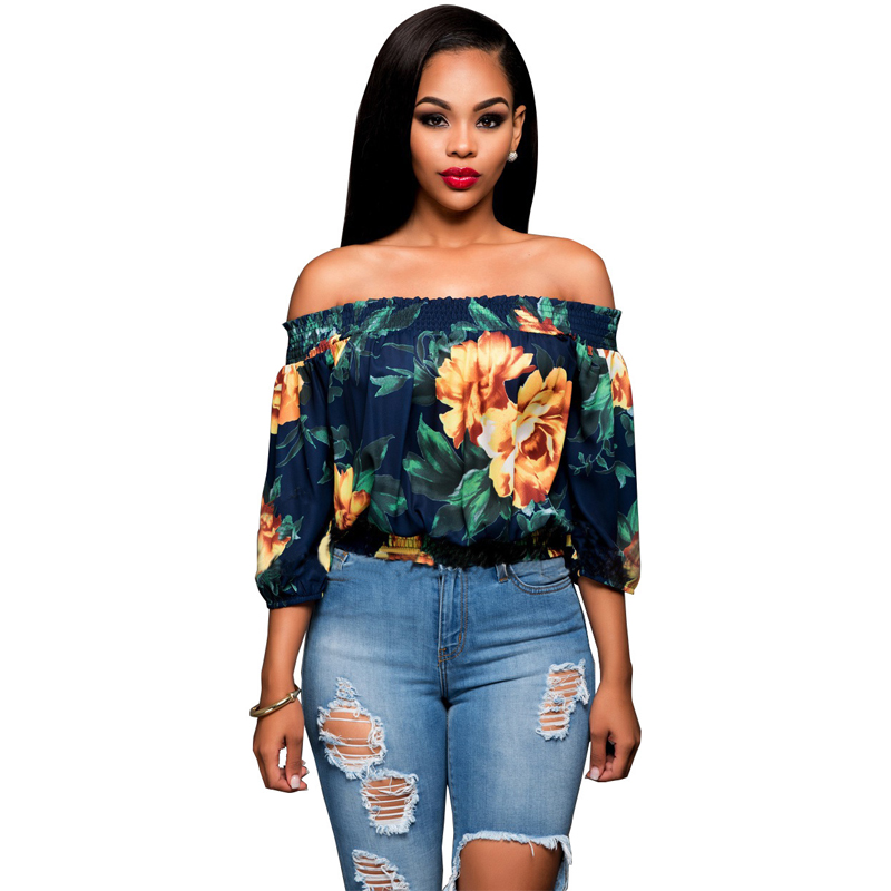 dd8f62d4851 Fashion Floral Printed Crop Top Summer Women Tops Sexy Off Shoulder Blouses  And Shirts Beach Slash Neck Flower Tops Cropped