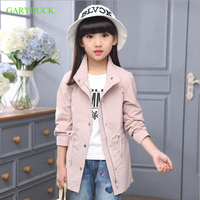 2017 Newest Spring Autumn Baby Girls Solid Color Windbreaker Kids 100 Cotton Clothes Fashion Girls Jacket