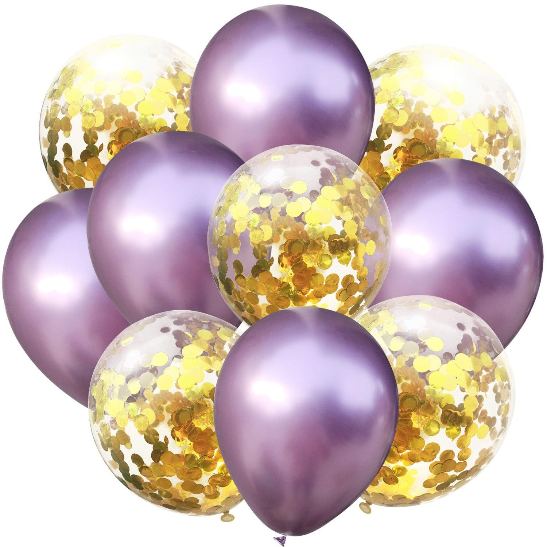 10 шт./лот, 12 дюймов, 5 шт., металлический цвет+ 5 шт., конфетти, латексные шары, для детей, для дня рождения, украшения, шары, мультяшная шляпа, игрушка - Цвет: light purple gold