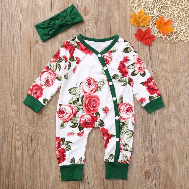 b9eb2b6b7 MUQGEW recién nacido bebé niñas conjunto de ropa de 2 piezas de flores  mameluco + diadema