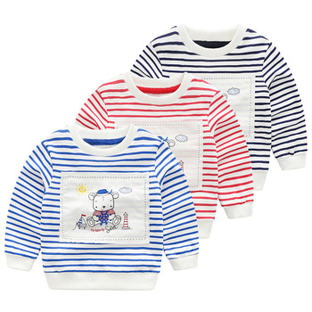 Fashion Stripes Cartoon Hoodies Boys Teens Spring Autumn Thin Sweatshirts Big kids jogger sportswear Long Sleeve T-shirt