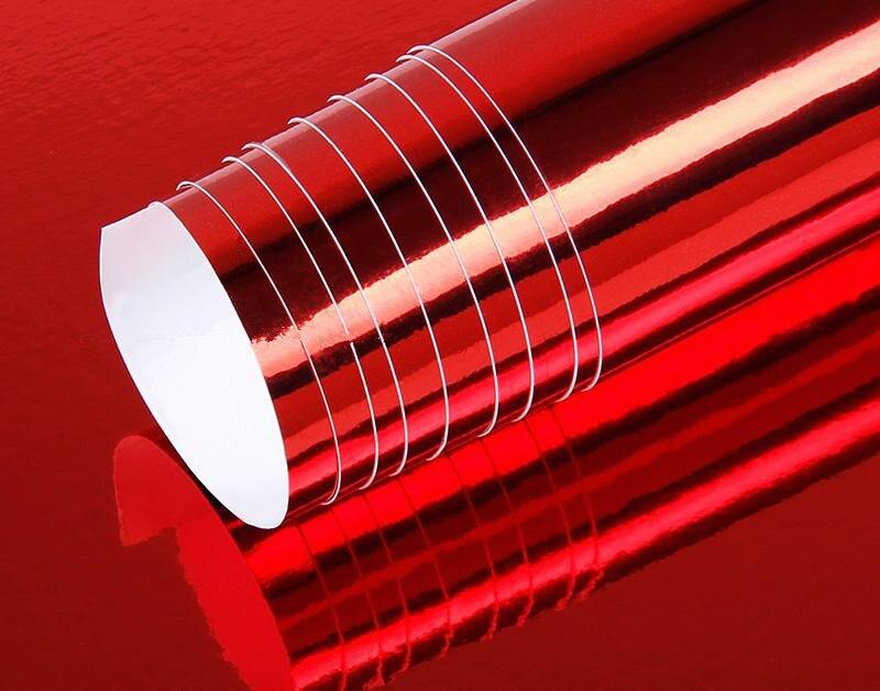 Flexible Chrome Rouge PVC autocollant pour voiture Extensible Film Chrome Autocollant Universel De Voiture Corps Autocollant accessoires de voiture 1.52 m x 5 m