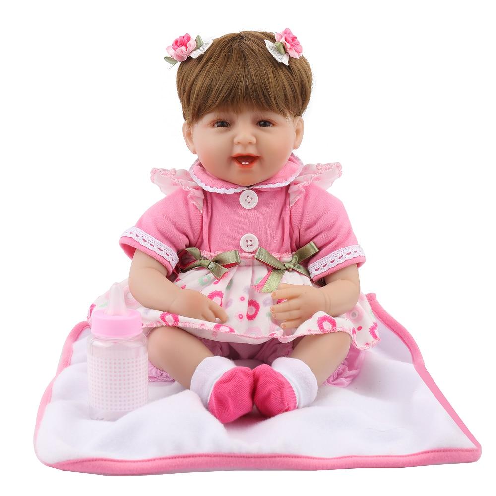 16inch Soft Slicone Reborn Baby 40cm Dolls Alive Lifelike Brown Wig Real Dolls Realistic Kids Pink Dress Girl Toys Birthday Gift [sgdoll] 22 lifelike smile pink girl reborn dolls vinyl handmade realistic baby toys child kids birthday holiday gift 16062417