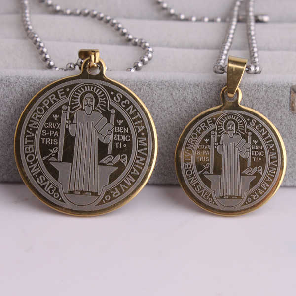 gold color color Saint Benedict of Nursia 316L Stainless Steel pendant necklaces bead chain for men women wholesale