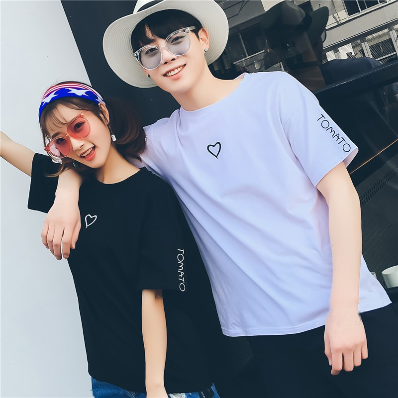2018 Couple Tees Heart Printed Summer Tee Shirts Casual Streetwear Cotton Tops Funny T shirts Men Black T-shirts