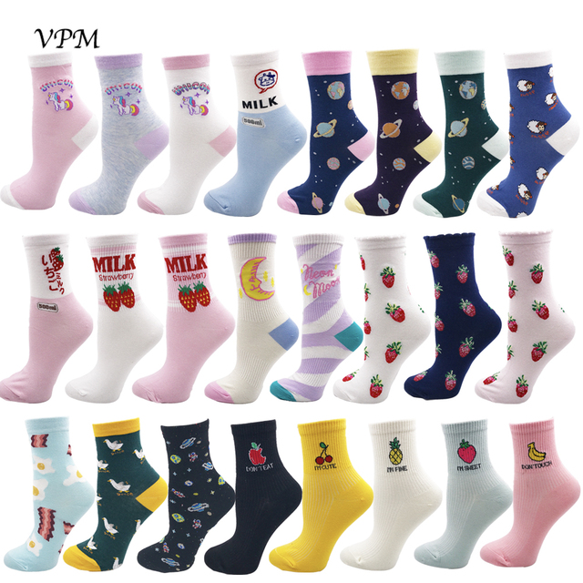 VPM Kawaii Sweet Women's Socks Funny Cute Cream Candy Color Milk Strawberry Unicorn Moon Pineapple Socks for Girl Christmas Gift