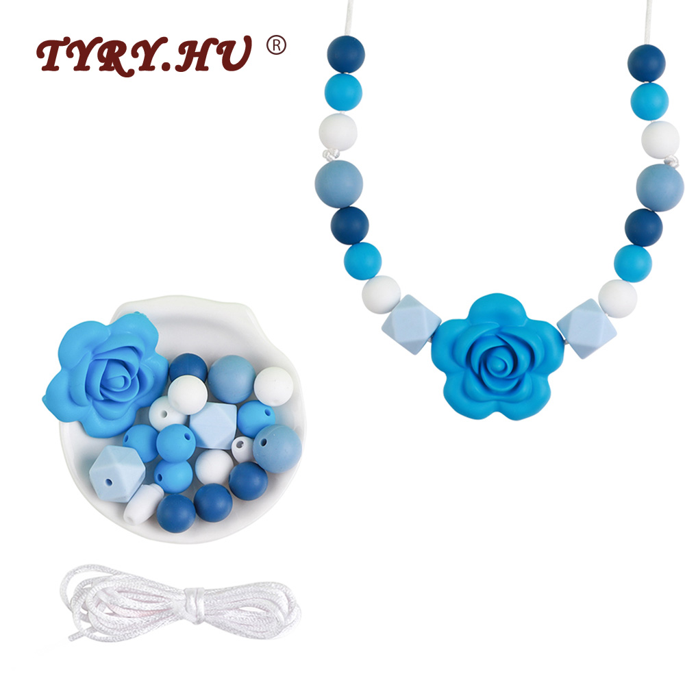 TYRY.HU Baby Silicone Beads DIY Set Food Grade Silicone Necklace Toy For Baby Teething Necklace Silicone Beads Bracelet Set